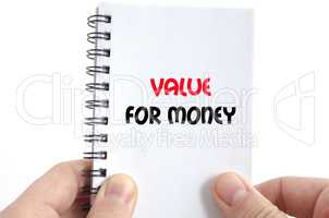 Value for money text concept