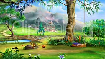 Fairy Tale Background with Swings and Small Bridge Over the Rive