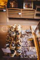 Various cookies and sweet foods in bakery shop