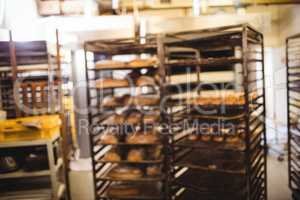 Baking trolley in bakery shop