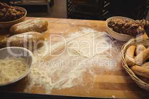 Flour with bread on a table
