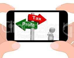 Tax Or Profit Signpost Displays Account Taxation or Profits