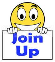 Join Up On Sign Shows Joining Membership Register