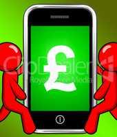Pound Sign On Phone Displays British Money Gbp