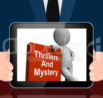 Thrillers And Mystery Book With Character Displays Genre Fiction
