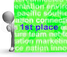 First Place Sign Shows 1st Winner Reward And Success