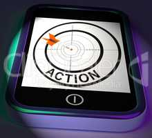 Action Smartphone Displays Acting To Reach Goals