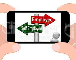 Employee Self Employed Signpost Displays Choose Career Job Choic