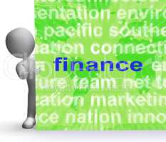 Finance Word Cloud Sign Shows Money Investment