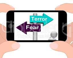 Terror Fear Signpost Displays Anxious Panic And Fears