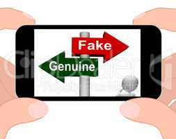 Fake Genuine Signpost Displays Authentic or Faked Product