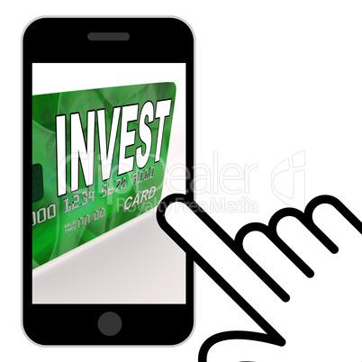 Invest on Credit Debit Card Displays Investing Money