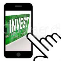 Invest on Credit Debit Card Displays Investing Money