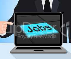 Jobs Button Displays Hiring Recruitment Online Hire Job