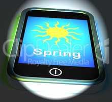Spring On Phone Displays Springtime Season