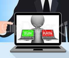 Sun Rain Laptops Displays Weather Forecast Sunny or Raining