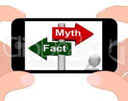 Fact Myth Signpost Displays Facts Or Mythology