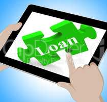 Loan Tablet Shows Credit Or Borrowing On Internet