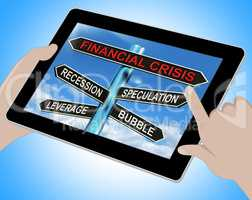 Financial Crisis Tablet Shows Recession Speculation Leverage And