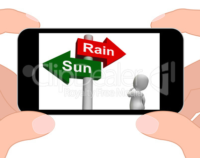 Sun Rain Signpost Displays Weather Forecast Sunny or Raining