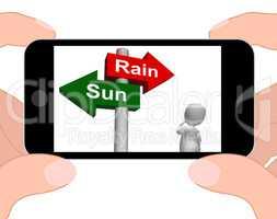 Sun Rain Signpost Displays Weather Forecast Sunny or Raining