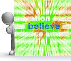 Believe Word Cloud Sign Shows Accepting Idea Faith Trust
