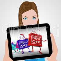 Fifty-Percent Off Bags Displays Sales and 50 Discounts