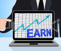 Earn Graph Chart Displays Increase Earnings Growing