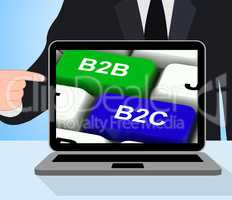 B2B And B2C Keys Displays Business Partnerships Or Consumer Rela
