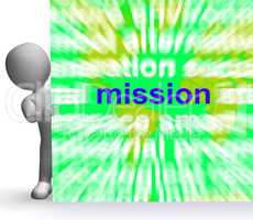 Mission Word Cloud Sign Shows Strategy And Vision