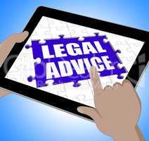Legal Advice Tablet Shows Online Lawyer Help