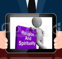 Religion And Spirituality Book With Character Displays Religious