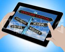 Venture Capital Tablet Shows Partnership Risk Control And Equity