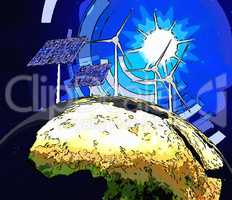 Solar Power Represents Earth Friendly And Electric