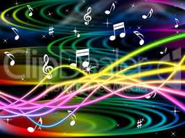 Color Notes Represents Sheet Music And Clef
