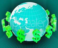 Forex Dollars Shows Exchange Rate And Currency