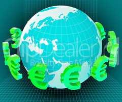 Globe Euros Shows Worldwide Trading And European