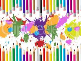 Color Pencils Represents Colours Multicolored And Tutoring