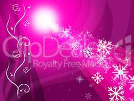 Glow Snowflake Represents Ice Crystal And Congratulation