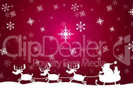 Snow Santa Represents Father Christmas And Animal