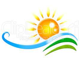 Sun Rays Shows Radiance Wave And Design