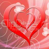 Heart Background Represents Valentine Day And Affection