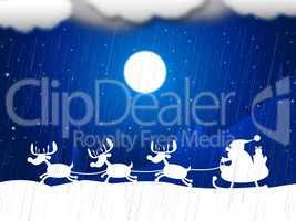 Reindeer Snow Indicates Father Christmas And Animal