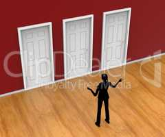 Choice Silhouette Indicates Door Frame And Alternative