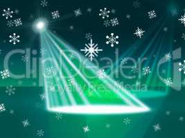 Spotlight Snowflake Indicates Stage Lights And Beam