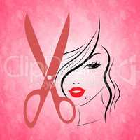 Woman Pink Indicates Hairdressing Female And Haircut