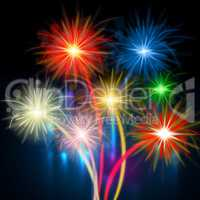 Color Fireworks Represents Night Sky And Celebrations