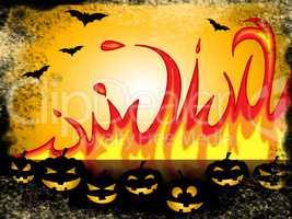 Pumpkin Halloween Represents Trick Or Treat And Blaze