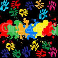 Colourful Handprints Indicates Color Colors And Backgrounds