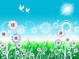 Birds Floral Indicates Florist Bloom And Flowers
